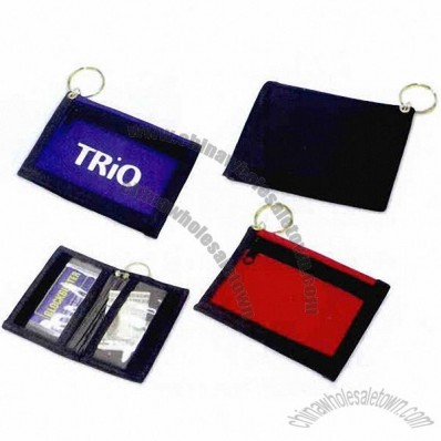Zippered key chain bi-fold wallet, 420 denier nylon