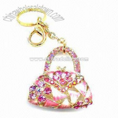 alloy and rhinestone bag with keychain