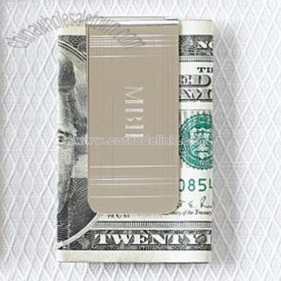art deco silver plated money clip