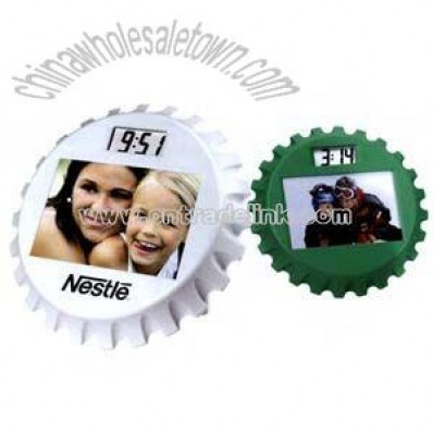 bottle cap shaped photo frame clock