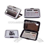 business card holder with solar powered 8-digit calculator with memory function