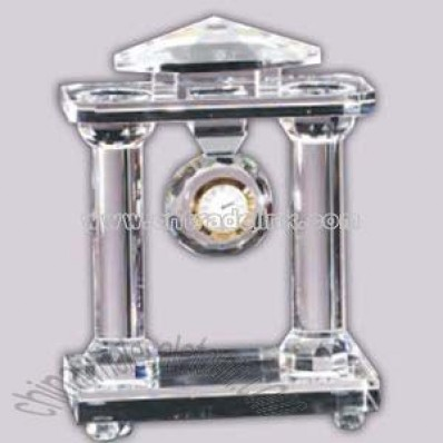 crystal glass with clock