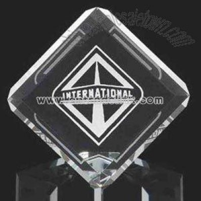 crystal square cube paperweight