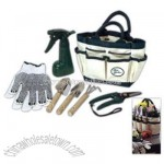 garden set features 6-tools in a polyester bag with 7-outer pockets