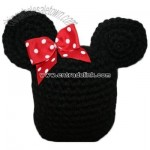 handmade black winter hat with mouse ears inspired by Minnie