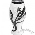 handmade white vase with black snakes