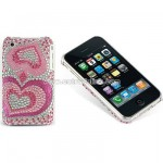 iPhone 3G 3GS Rhinestone Pink Heart Rear Case