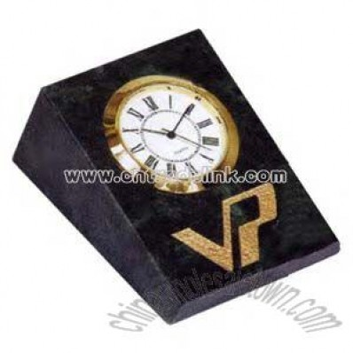 marble wedge shape desk clock