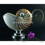 nautilus with sterling silver 925 gravy/sauce boat