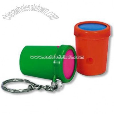 plastic cylinder mini air blaster strong whistles key chain