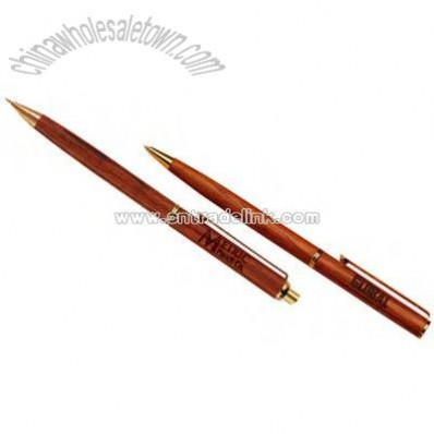 rosewood ballpoint pen and pencil