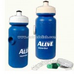 water bottle with pill holder on the side