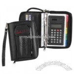 zipper organizer with dual power calculator and business card holder